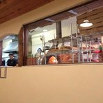 A view of the kitchen from our table