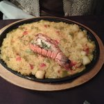 Seafood paella with lobster