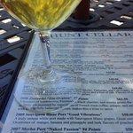 The tasting menu and a glass of Sauvignon blanc port