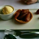 Pieces of stewed apple on a DRY pastry base. Ice-cream straight from freezer so ice crystals.