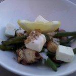 Antipasto: insalata di polpo con salsa allo yogurt e fagiolini