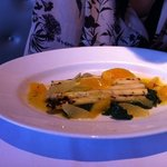 Asparagus in a zingy sauce with orange and grapefruit segments