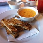 Anchovy toast with parmesian custard