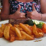 Thumbs up for the best fillet steak ever.