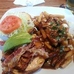 Applewood Salmon club with poutine