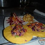 Meat tacos with roasted beet & pineapple salad