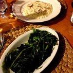 Risotto de trufa y queso - Espinacas salteadas con ajo