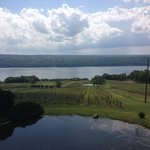 View from the deck overlooking the vineyards with Seneca lake in the background.