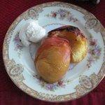 Breakfast - roasted preaches with vanilla frozen yogurt & maple syrup