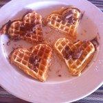 Breakfast waffles with yummy Zakinthian honey and nutella
