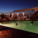 The roof top pool in the evening