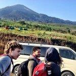 Starting the Hike - Volcan Acatenango before us