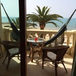 The balcony overlooking the beach