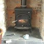 The cute fireplace inside the Coach House. Fire wood and newspaper supplied :)