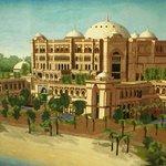 Огромный ковер на стене с изображением Emirates Palace