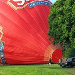 Balloon nearly inflated for take off