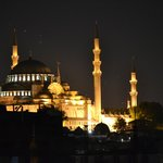 Sulemaniye Mosque by night from roof top deck
