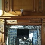 One of two cozy fireplaces