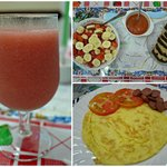 The amazing breakfast - fresh juice, omelette, fruit salad, and chocolate bread with jam!