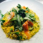 Carrot and English asparagus risotto with pecorino