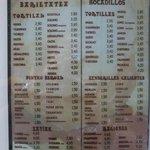 Menu at Juantxo
