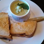 Meatloaf Sandwich and Cucumber Soup