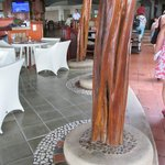 Dining area, loved the wood and stone work