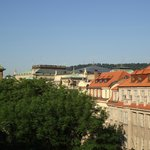 View from the apartment; the rooftop of the Rudolfinum is visible