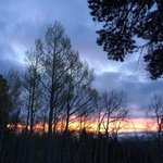Sunrise on hiking trail
