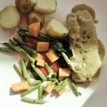 Pork Loin with pumpkin seed mole sauce, seasoned grilled vegetables and potatoes