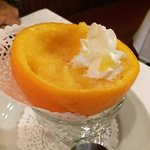 Homemade orange sorbet. Delicious!