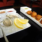 yummy oysters and incredibly light and fluffy salt cod hushpuppies!