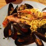 Seafood pasta -- yum!