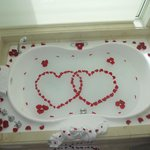 Our butler prepared our jacuzzi on our anniversary day