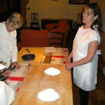 Lorena and I preparing the flour and egg for pasta