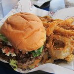 blue cheese burger and onion rings