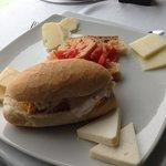 Burrata and egg sandwich.  Local cheeses