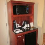 Our room, coffee maker, fridge, microwave!