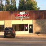 Exterior view of the Restaurant from across Saskatchewan Avenue, Tornado      Portage la Prairie