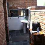 bathroom area of the room