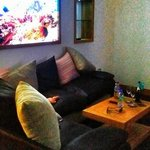 Sofa with the fish tank above