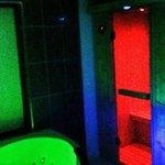 The sauna and the jaquzi all lit up
