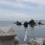 夫婦岩とカエル