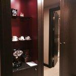 the wardrobe and coffee facilities