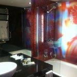 Beautiful glass wall in bathroom