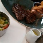 Beef served with great anchovie salad and beef dripping chips.