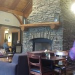 Fireplace in dinning room.