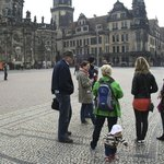 Dresden Walk with our guide & her assistant - white hat!!