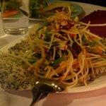 Vegetarian green papaya salad with tofu & mint sesame rice cracker & crushed peanuts