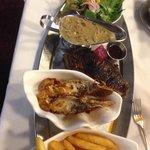 Steak w/sauce, Chips, Moreton bay Bug and Salad $30